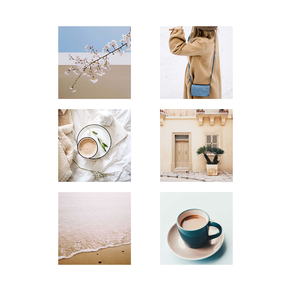 Blue and beige mood board