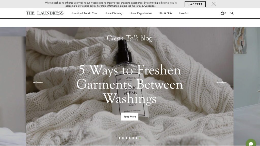 Screenshot of elegant font pairings at The Laundress