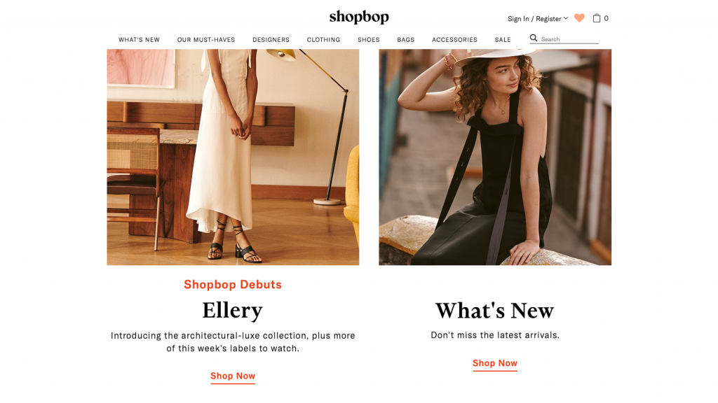 Screenshot of elegant font pairings at Shopbop