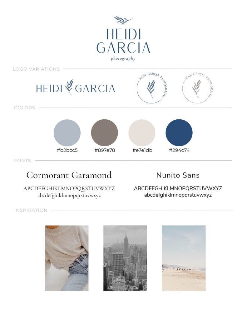 Custom brand style guide for Heidi Garcia Photography