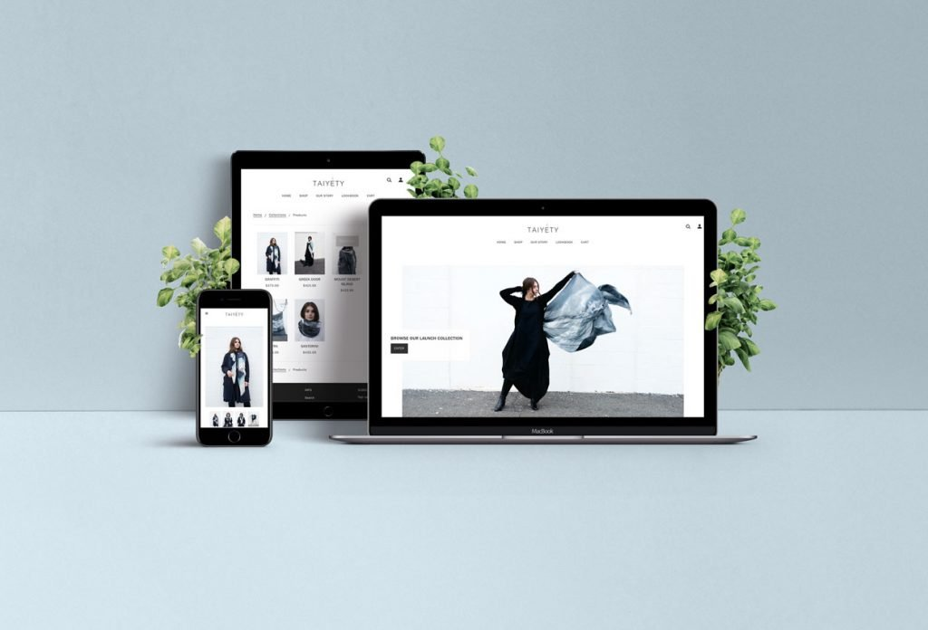 Taiyety web design mockup