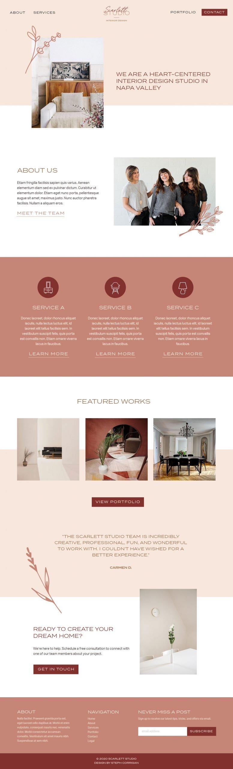 Custom homepage web design for Scarlett Studio Interior Design