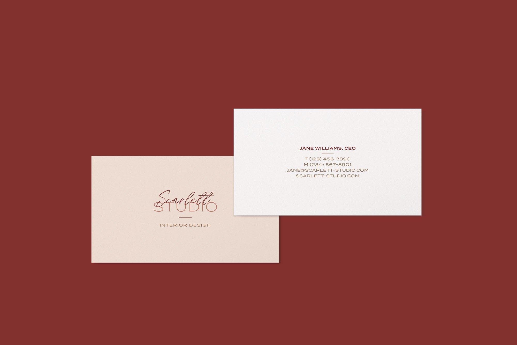 Scarlett Studio custom business card design