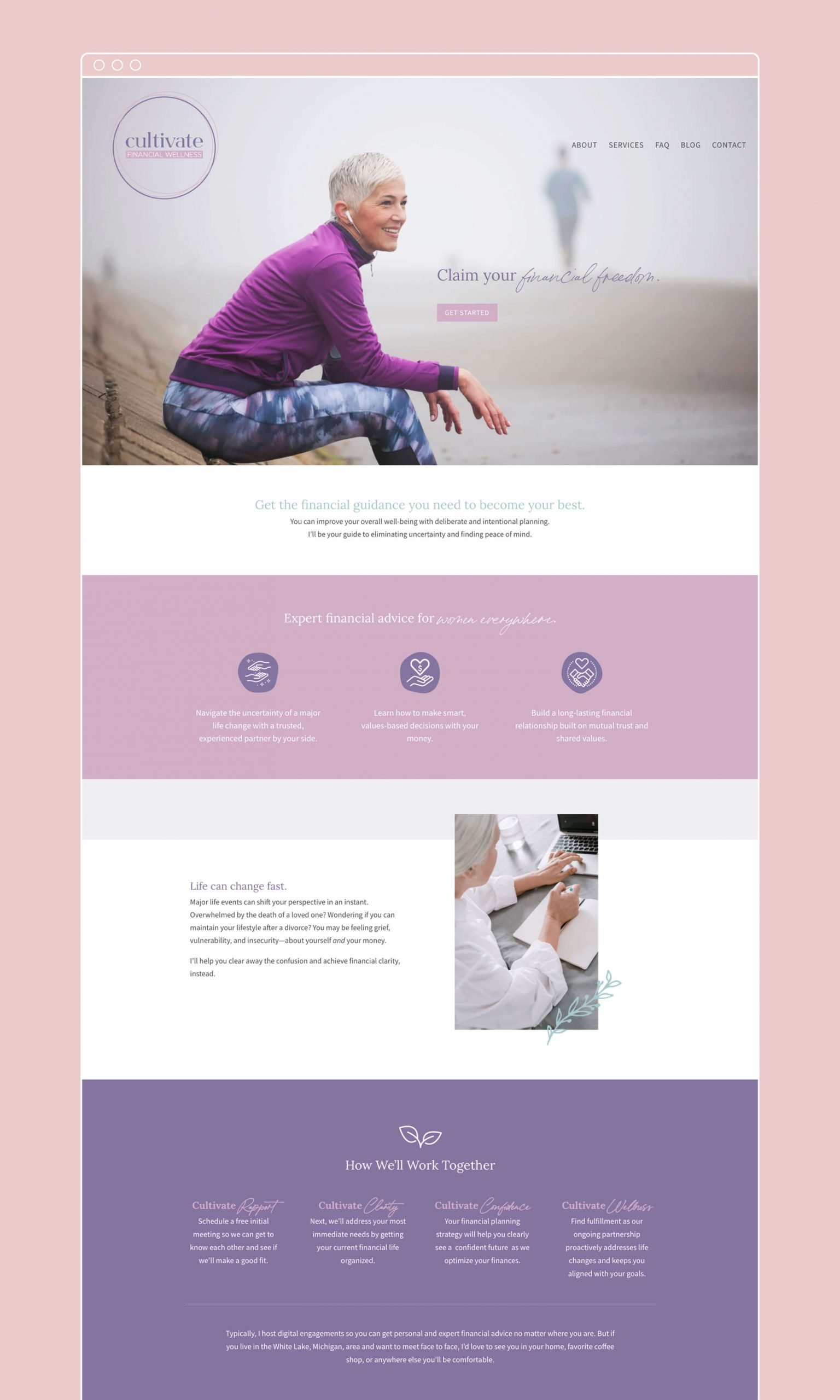 Cultivate Financial Wellness homepage design