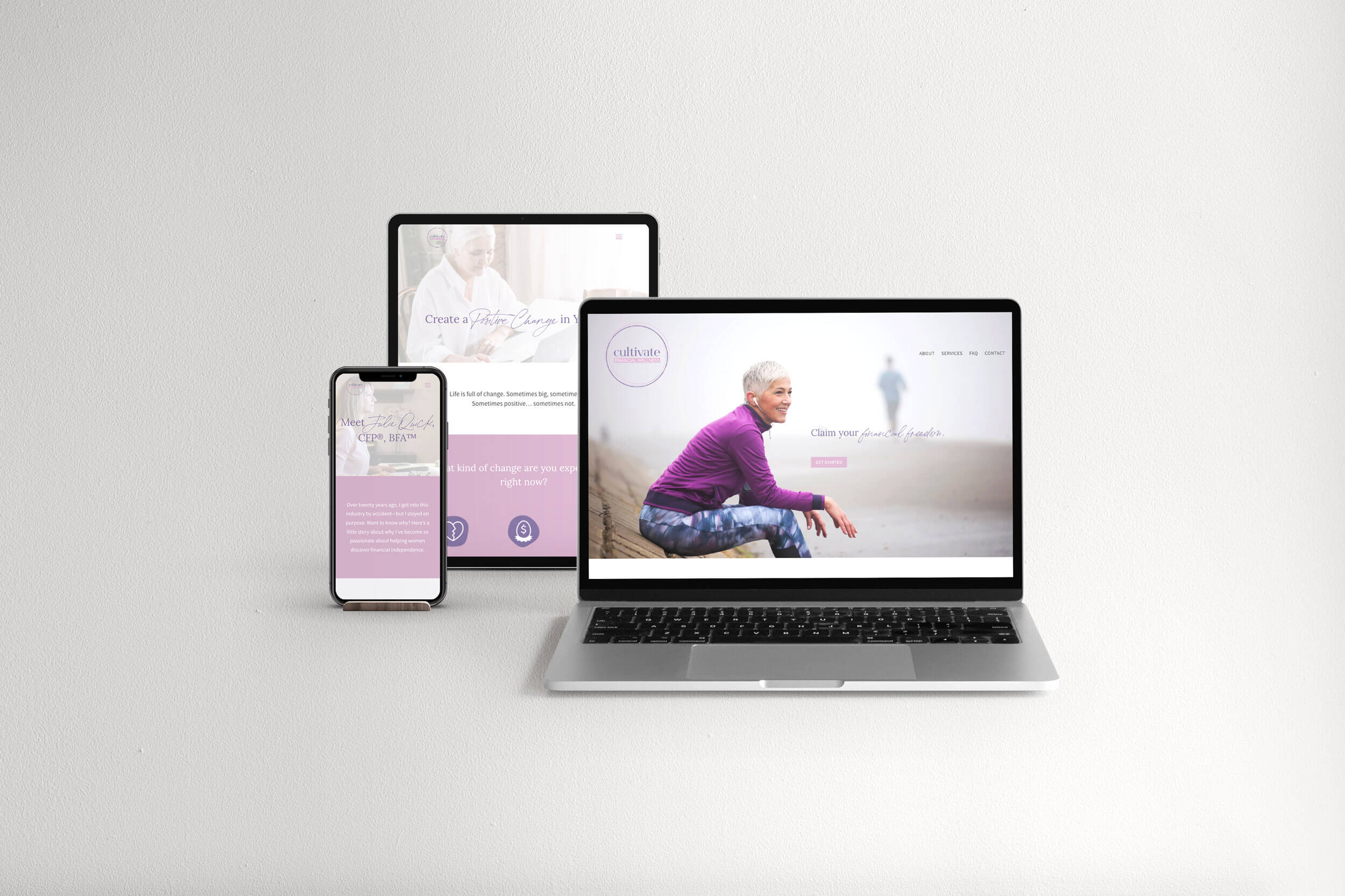 Cultivate Financial Wellness responsive website design mockup