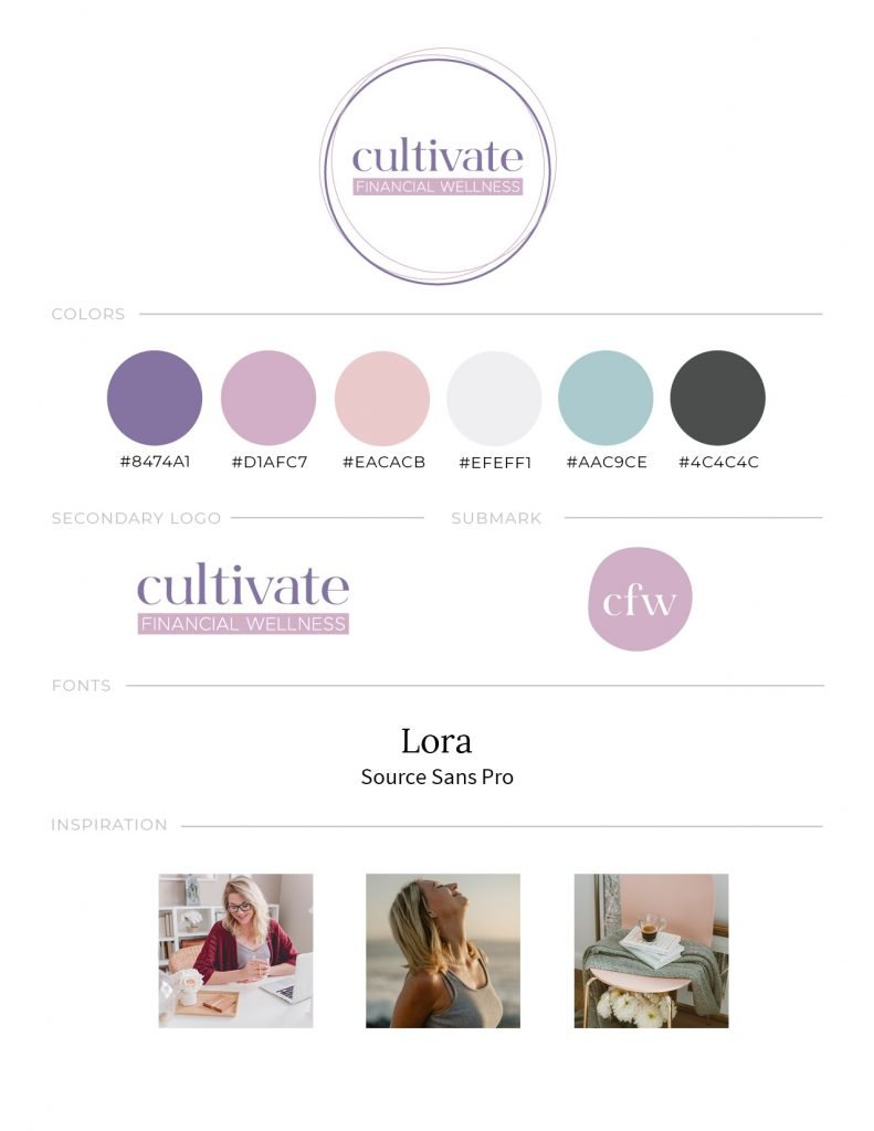 Brand style guide for Cultivate Financial Wellness