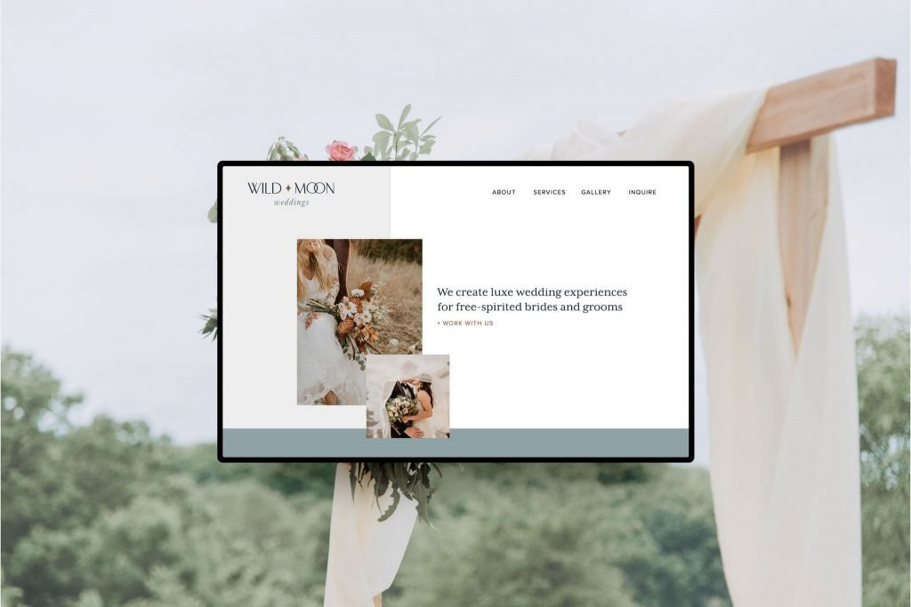 Minimalist web design mockup for Wild Moon Weddings