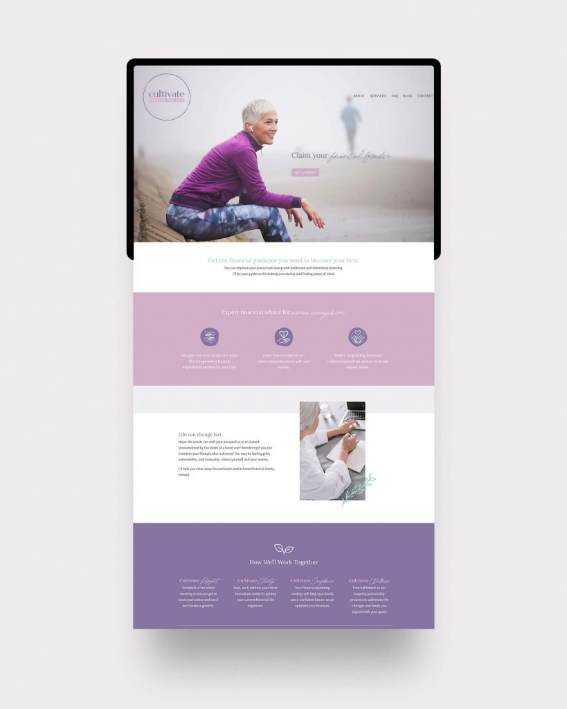 Custom homepage design for Cultivate Financial Wellness