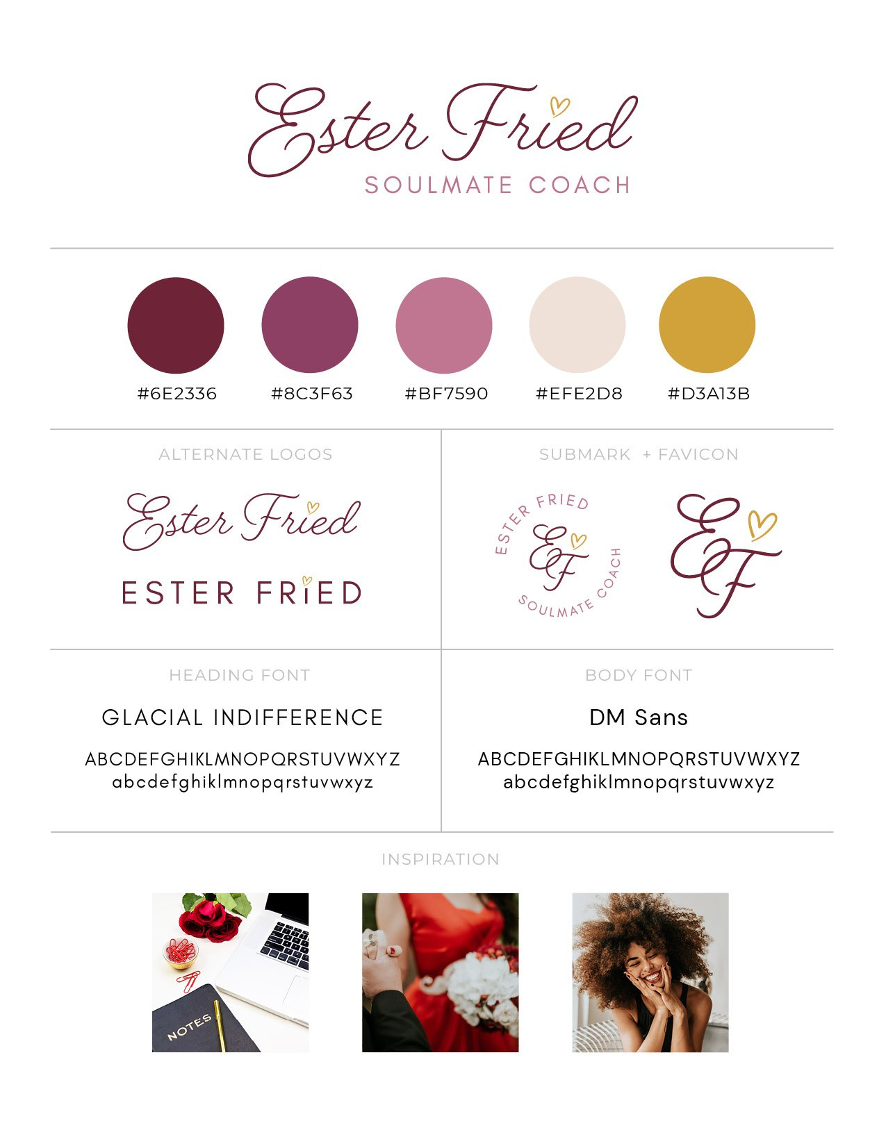 Brand board for Ester Fried branding project