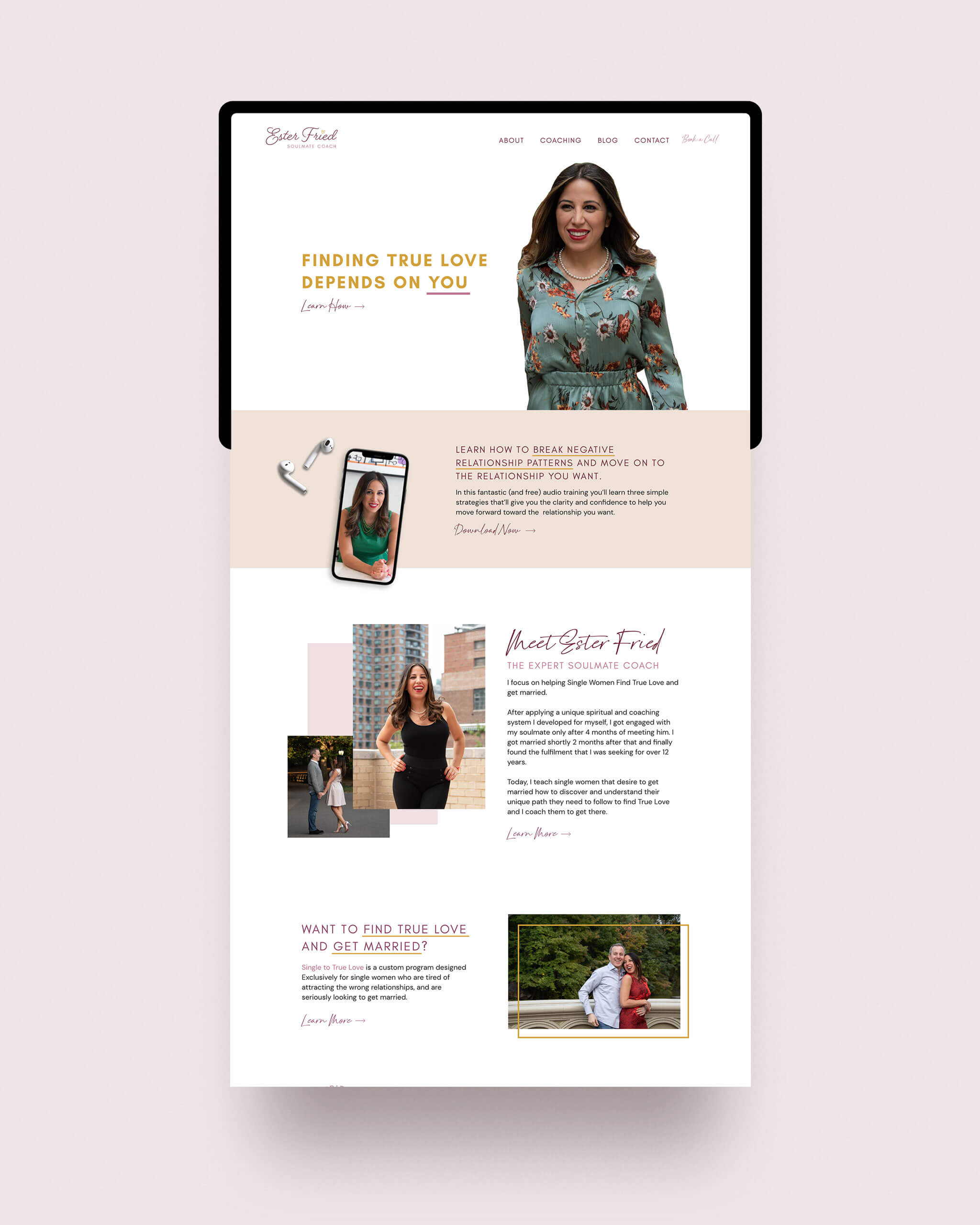 Custom homepage design for soulmate coach Ester Fried