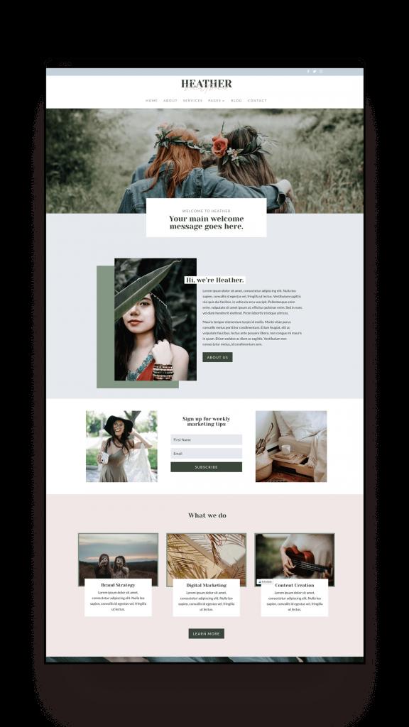 Heather website template homepage